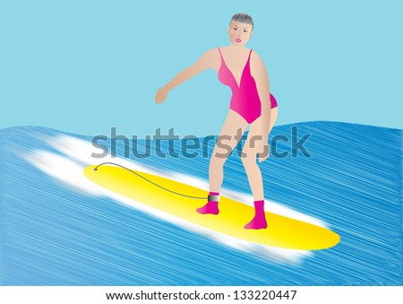 an older woman surfing on a