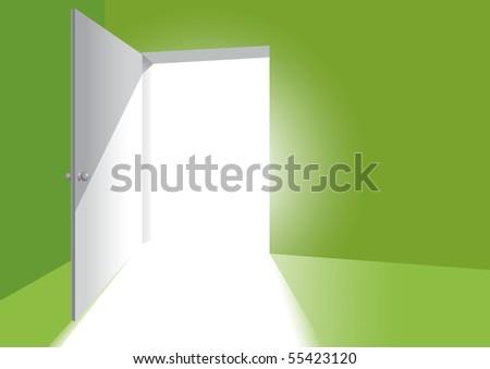 an open door in a light green room