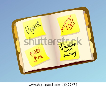 an open personal agenda with post it notes vector illustration - stock vector