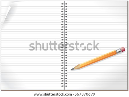 An open spiral bound notebook with lined paper and pencil.
