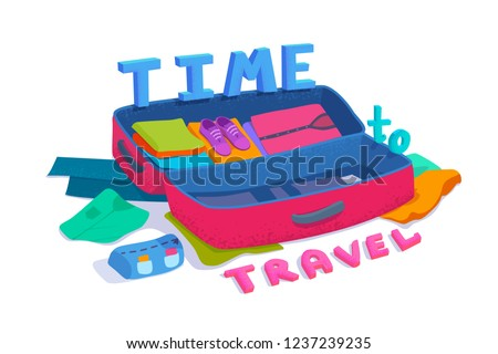 An open suitcase packed with things. 3D bold text time to travel. Filled large valise. Tourism, cruise, voyage. Vector colorful cartoon textured flat style illustration isolated on white background.