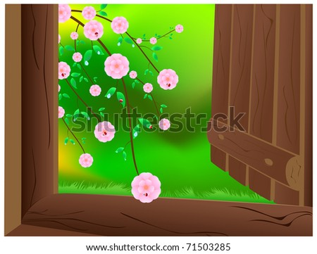 An open wooden door with a wild cherry blossoms, ladybirds and dew