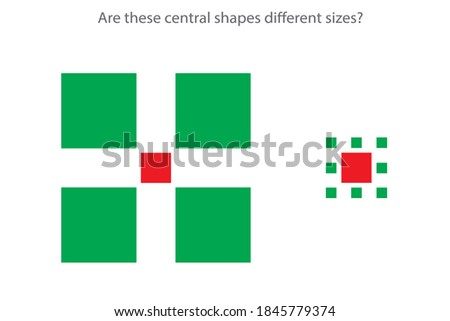 An optical Ebbinghaus illusion (also called a visual illusion) is an illusion caused by the visual system and characterized by a visual percept that arguably appears to differ from reality. Foto stock ©