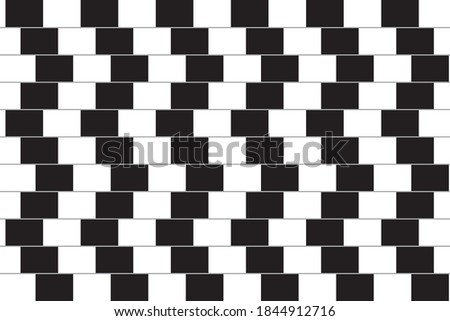 An optical illusion (also called a visual illusion) is an illusion caused by the visual system and characterized by a visual percept that arguably appears to differ from reality. A Café wall illusion. Foto stock ©