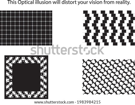 An optical illusion (also called a visual illusion) is an illusion caused by the visual system and characterized by a visual percept that arguably appears to differ from reality. Foto stock ©