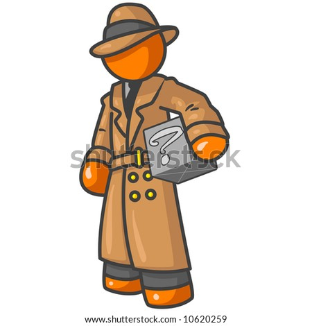 An orange man detective holding a box with something in it, but no one knows what, as shown by the question mark. - stock vector