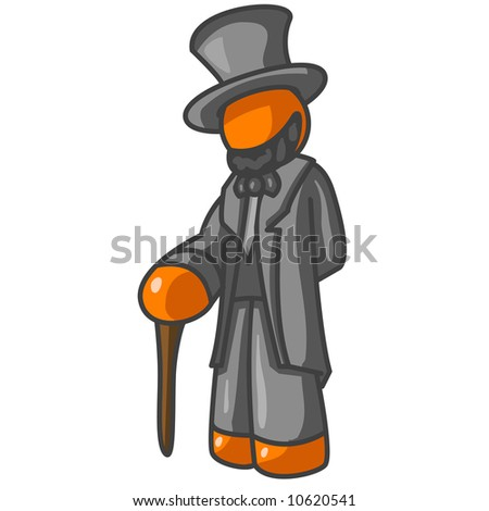 An orange man dressed as president Abraham Lincoln.