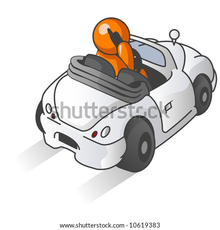 An orange man driving a car while talking on a cellular phone, which is illegal in many areas.