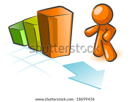 An orange man gesturing to a bar graph with an arrow by it. Cute concept in rising sales.