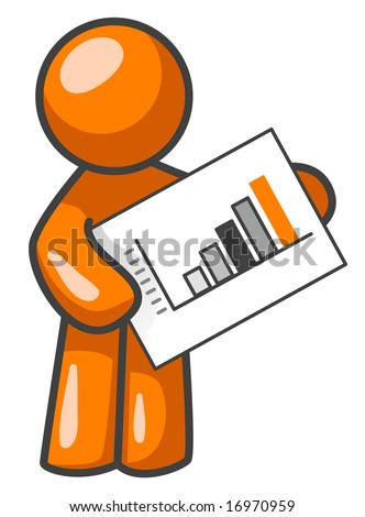 An orange man holding a bar graph, presenting it to you or your audience.