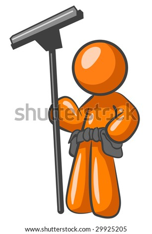 An orange man holding a squeegee and looking confident in his exceptional work.