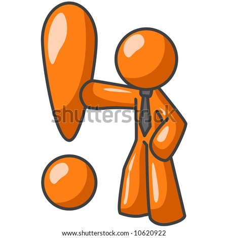 An orange man leaning up against an exclaimation point.
