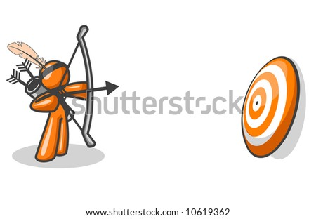 An orange man taking aim to hit an orange target.