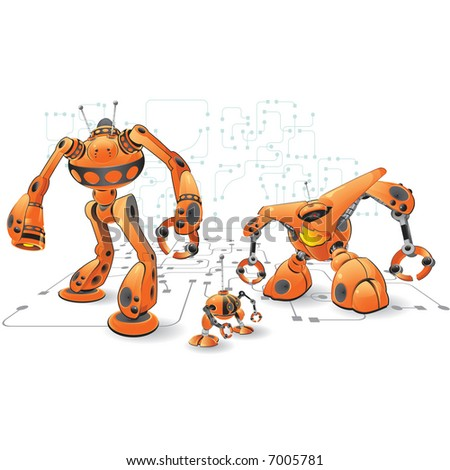 An orange robot which is meant to be an interesting and fun concept on programming, automation, and related web design.