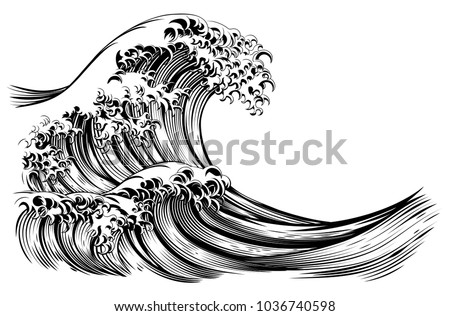 an oriental japanese great wave