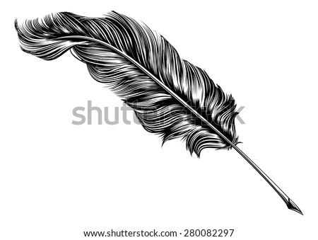 An original illustration of a feather quill pen in a vintage woodblock style