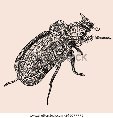 an ornate bug zentangle