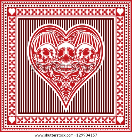 An ornate illustration of the playing card suit hearts surrounded with a detailed border.