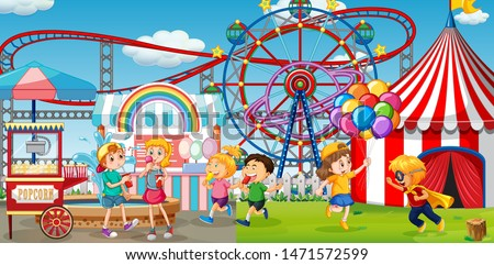 An outdoor funfair scene with kids playing illustration