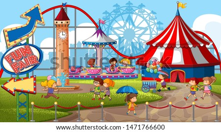 An outdoor funfair scene with many children illustration