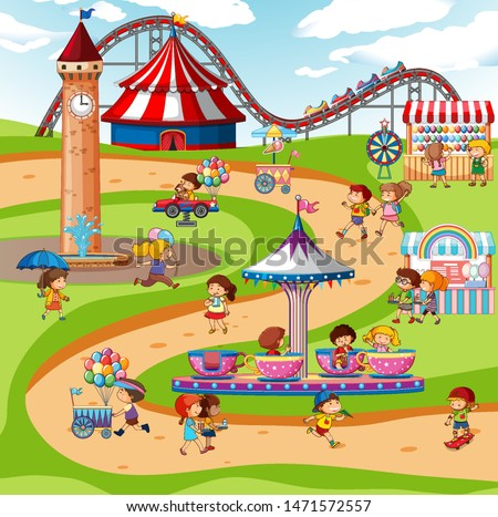 An outdoor funfair scene with rides and kids illustration