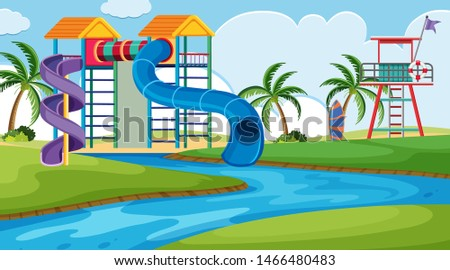An outdoor scene with water park illustration