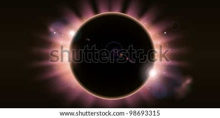 An outer space background illustration with a total eclipse - stock vector