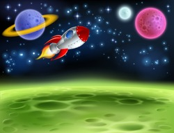 An outer space planet or alien moon cartoon background with a rocket ship