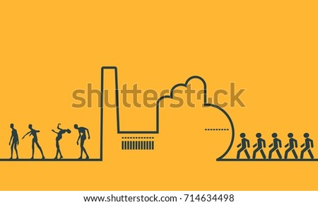 an outline of a factory on