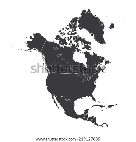 An Outline on clean background of the continent of North America