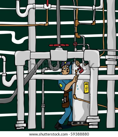 An overwhelmed plumber works in a maze of shoddy pipework.