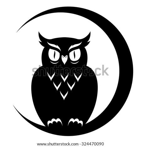 an owl sitting on the moon