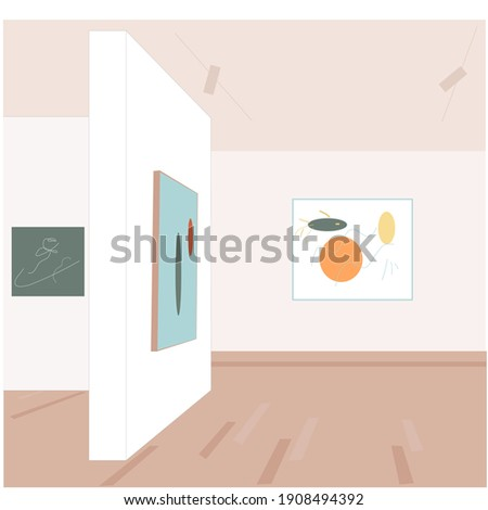 An unusual interior of a modern art gallery with paintings on the walls. Art. Vector flat illustration