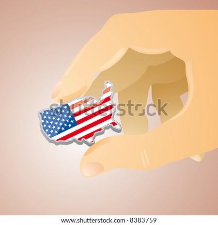an usa placard shape between two fingers of a giant hand. A care concept