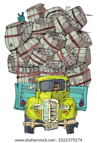 An vintage badly overloaded lorry is full of old barrels. Cartoon. Caricature.