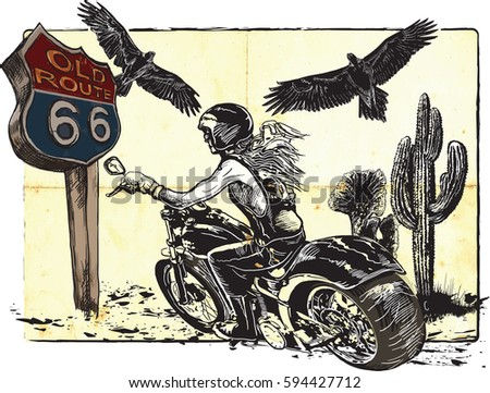 An woman from behind riding motorcycle, chopper bike on the route 66. Freehand drawing, vector sketch.