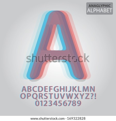 anaglyphic alphabet and numbers