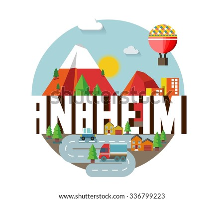 Anaheim city travel destination in USA. vector cartoon,