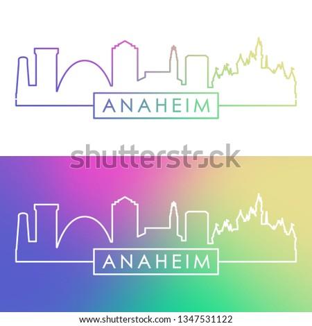 Anaheim skyline. Colorful linear style. Editable vector file.