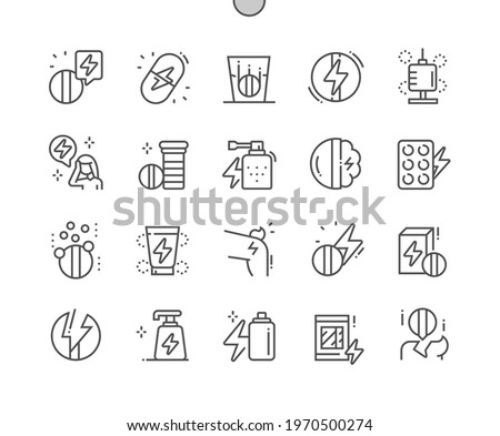 Analgesic. Pain pills. Anesthetic gel, spray and patch. Headache. Health care, medical and medicine. Pixel Perfect Vector Thin Line Icons. Simple Minimal Pictogram Photo stock ©