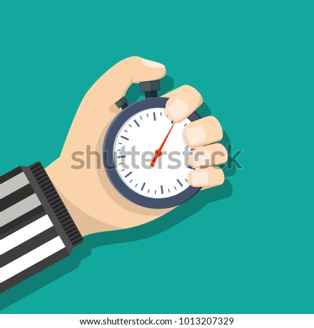 Analog chronometer timer counter in hand of referee, stopwatch. Vector illustration in flat style