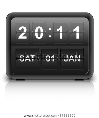 Analog flip clock, vector
