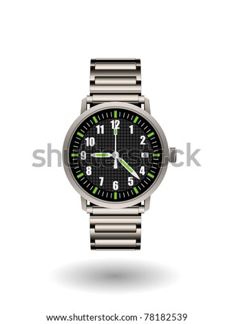 Analog men wrist watch isolated on white eps8