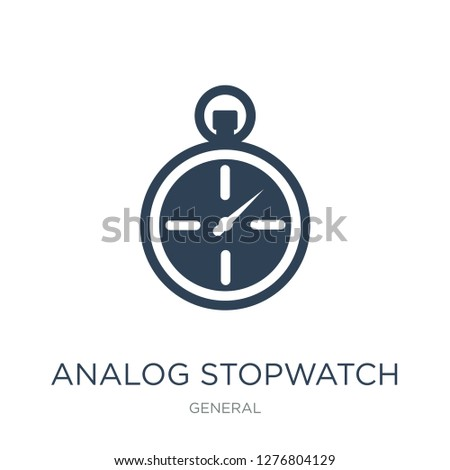 analog stopwatch icon vector on white background, analog stopwatch trendy filled icons from General collection, analog stopwatch vector illustration