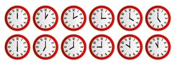 Analog wall clock showing 12 hours each hour.