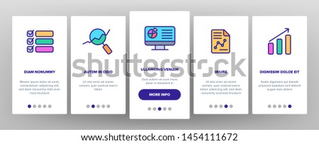 Analysing Data Vector Onboarding Mobile App Page Screen. Information Analysis Charts, Diagrams Linear Pictograms. Statistical Reports, Presentations, Analytical Thinking. Illustrations