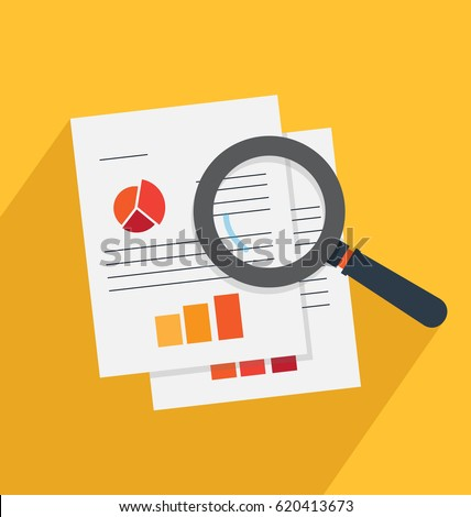 Analysis and investigation vector illustration. Magnifying glass and documents.