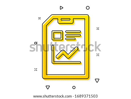 Analysis and Statistics File sign. Report Document icon. Paper page concept symbol. Yellow circles pattern. Classic report document icon. Geometric elements. Vector