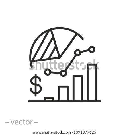 analysis business statistic icon, insight financial data, overview economic dashboard, risk and result, thin line symbol on white background - editable stroke vector illustration eps10 Stock photo ©