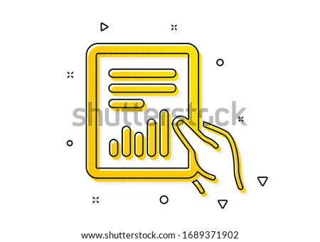 Analysis Chart or Sales growth sign. Hold Report document icon. Statistics data symbol. Yellow circles pattern. Classic document icon. Geometric elements. Vector